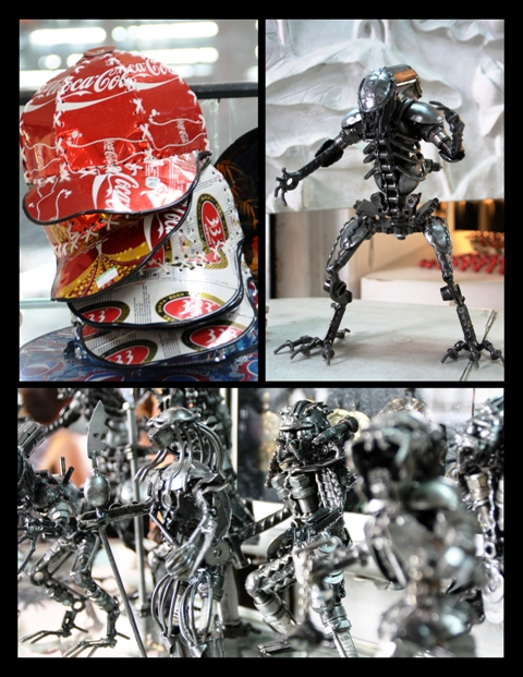 Recycled metal and bike parts made into hats and sculptures