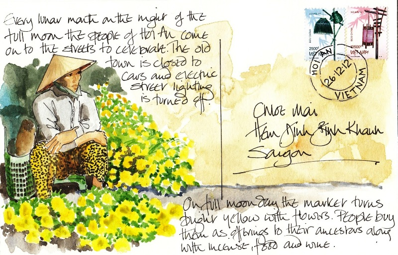 Bridget March - postcard for Hoi An Yellow Flowers