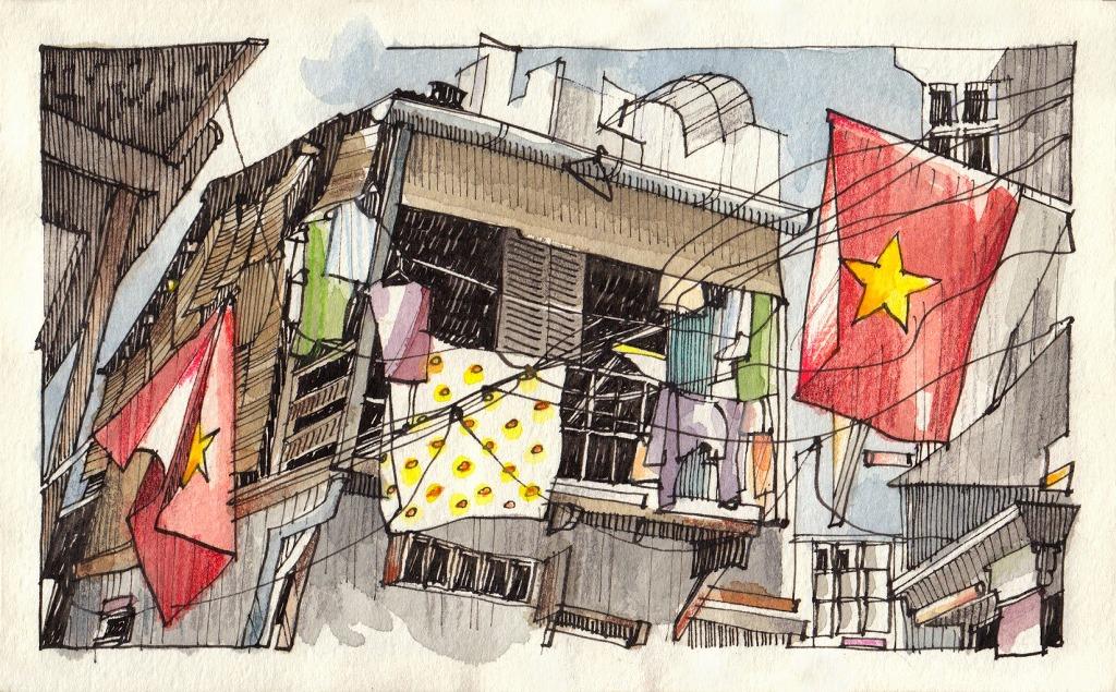 Jorge Royan - Urban Sketching - Flags 2