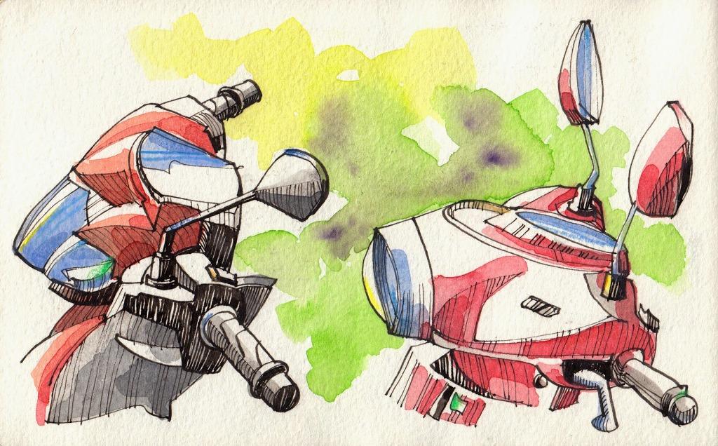 Jorge Royan - Urban Sketching - Motorbikes