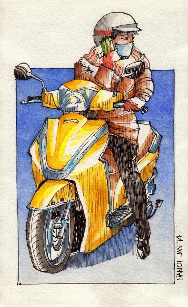 Jorge Royan - Urban Sketching - Woman on scooter