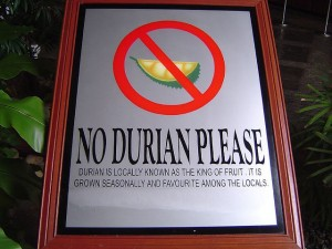 Sign prohibiting durian in a hotel