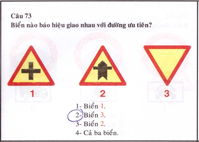 Vietnamese driving license booklet with options out of order