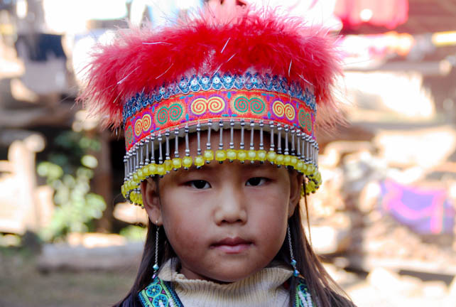 Faces of Laos - Hmong Girl in Headdress