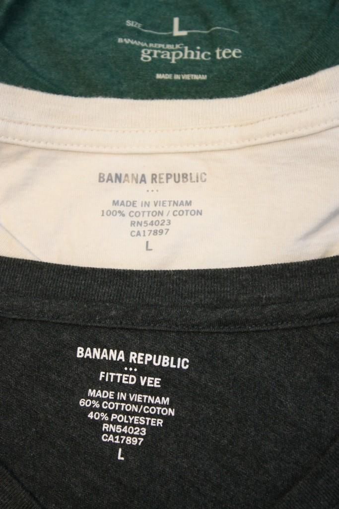 Banana Republic Shirts made in Vietnam