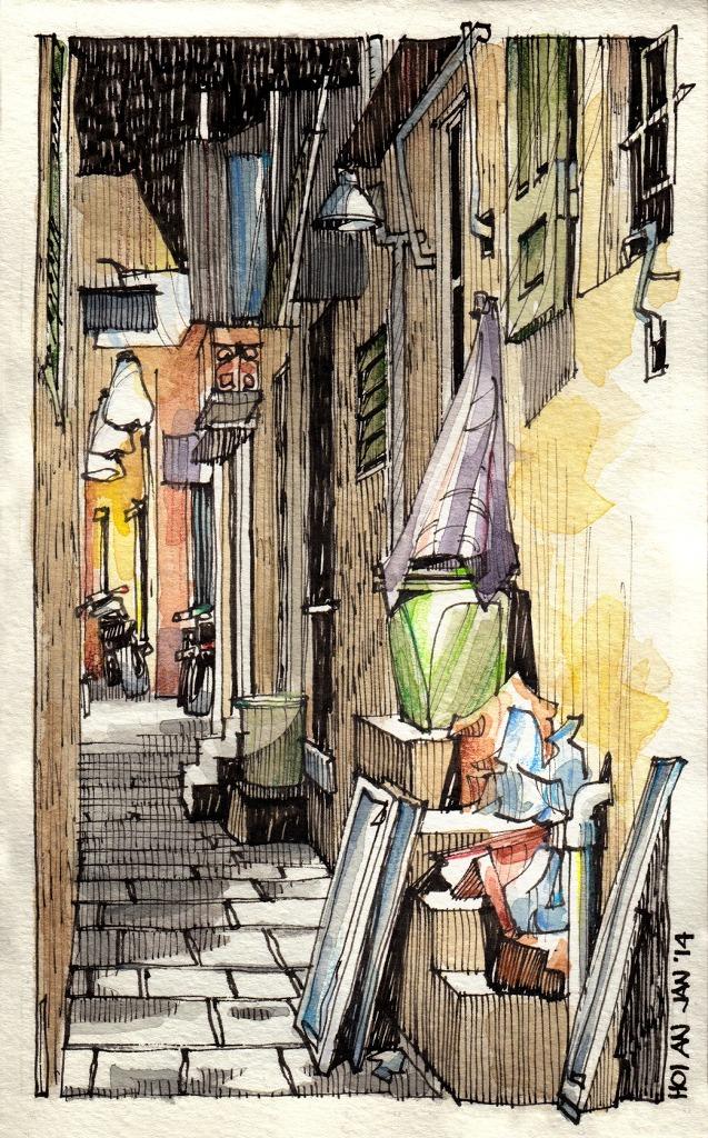 Jorge Royan - Urban Sketching - Alley at night