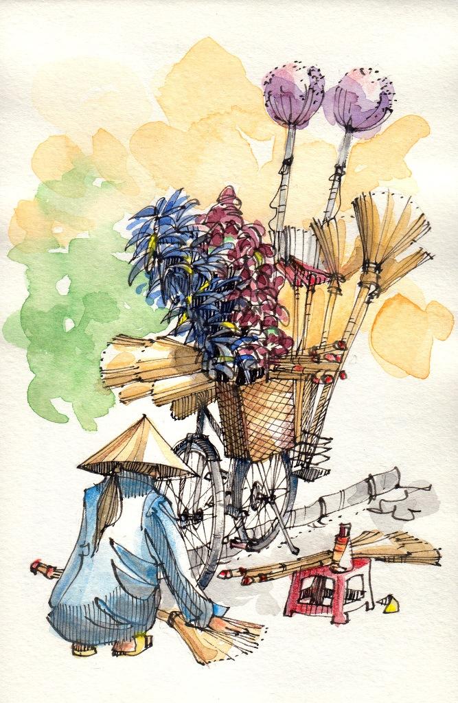 Jorge Royan - Urban Sketching - Broom Vendor