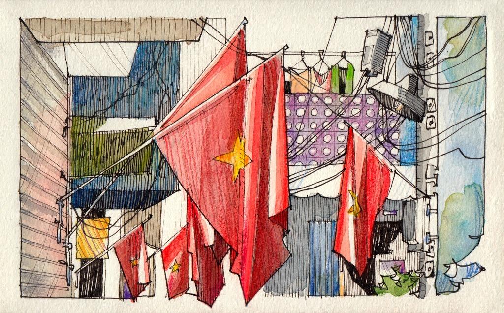 Jorge Royan - Urban Sketching - Flags