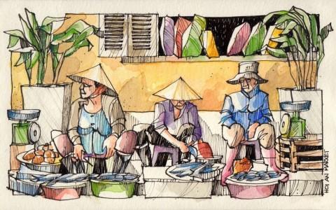 Jorge Royan - Urban Sketching - Market Vendors
